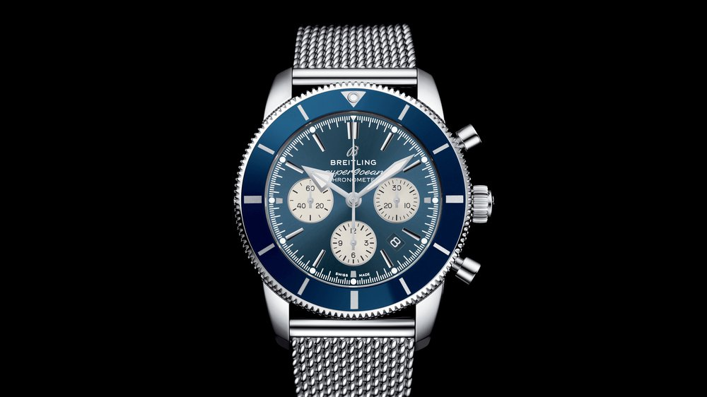 heritage the dial blue heritageii chronograph classic ii ritage with ocean news superocean and en breitling h watches bracelet us details steel