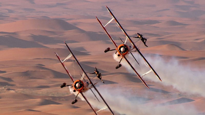 The Breitling Wingwalkers over the Al Ain desert