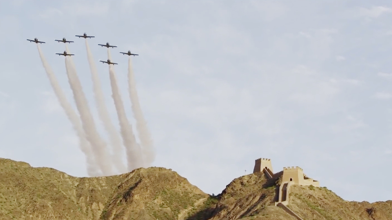 The Breitling Jet Team flies over the Great Wall of China