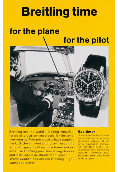 Navitimer reference 806 vintage ad from circa 1950s showing a pilot in a cockpit
