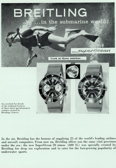 "SuperOcean reference 807 and reference 1004 vintage ad from circa 1957 with a diver and stating ""Breitling…in the submarine world"""