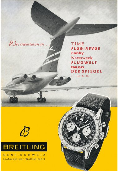 Navitimer reference 806 vintage ad from circa 1963 with an aircraft on the tarmac ready to take off