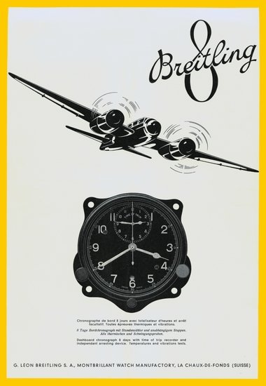 Breitling Huit Aviation Department Vintage Ad from circa 1938 showing a plane and an onboard instrument