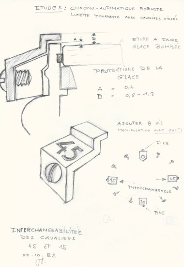 Rider tabs technical drawing, C. 1982