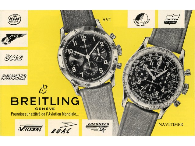 "Co-Pilot reference 765 AVI and Navitimer reference 806 Vintage Ad from circa 1950s stating ""Breitling appointed supplier to world aviation"""