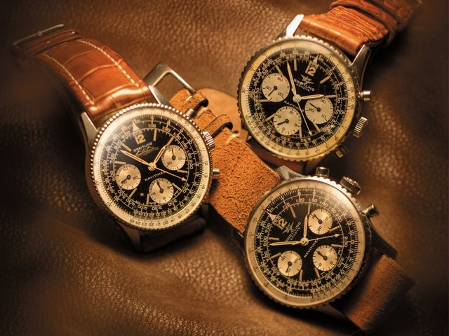 Three original Navitimer reference 806 from the 1960s with reverse panda dials