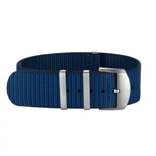 Dark blue Outerknown Econyl®-yarn single-piece strap (with stainless steel keepers) - 20 mm