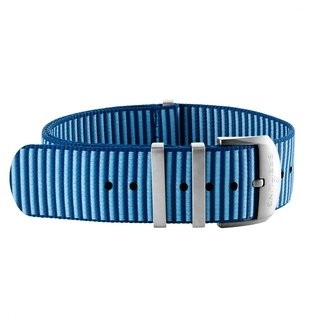 Light blue Outerknown Econyl®-yarn single-piece strap (with stainless steel keepers) - 18 mm