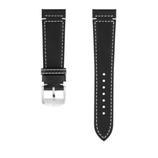 Black drakkar calfskin leather strap - 22 mm