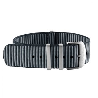 Grey Outerknown Econyl®-yarn single-piece strap (with stainless steel keepers) - 22 mm