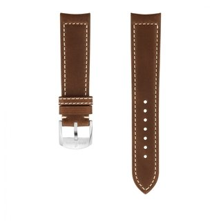 Brown drakkar calfskin leather strap - 20 mm