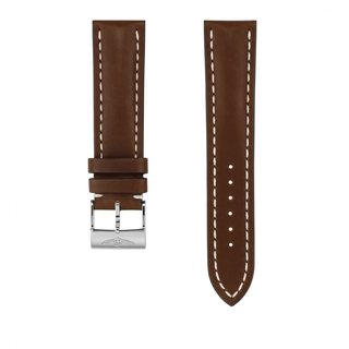 Brown novo nappa calfskin leather strap - 22 mm
