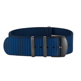Dark blue Outerknown Econyl®-yarn single-piece strap (with DLC-coated stainless steel keepers) - 24 mm