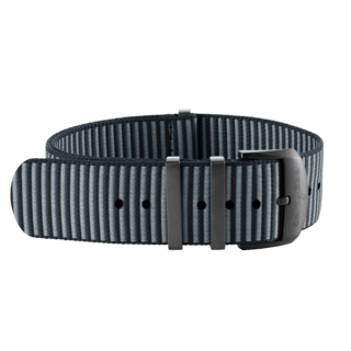 Grey Outerknown Econyl®-yarn single-piece strap (with DLC-coated stainless steel keepers) - 22 mm