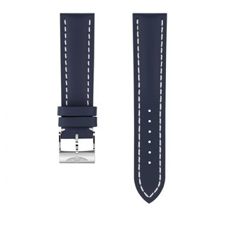 Blue calfskin leather strap - 22 mm
