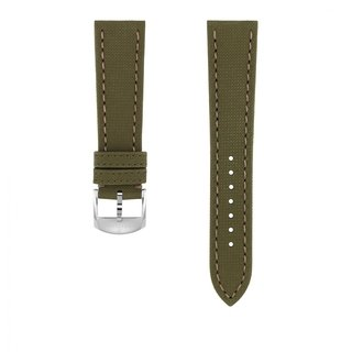 Green military calfskin leather strap - 21 mm