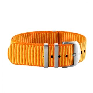 Orange Outerknown Econyl®-yarn single-piece strap (with stainless steel keepers) - 22 mm