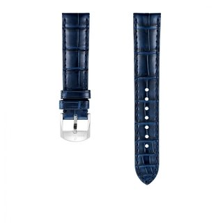 Blue alligator leather strap - 18 mm