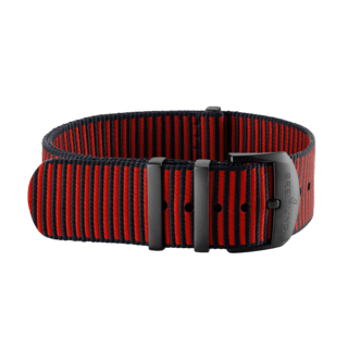 Red Outerknown Econyl®-yarn NATO strap (with DLC-coated stainless steel keepers) - 22 mm