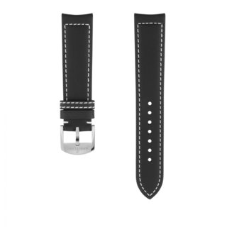 Black drakkar calfskin leather strap - 20 mm