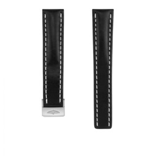 Black novo nappa calfskin leather strap - 20 mm