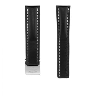 Black novo nappa calfskin leather strap - 22 mm