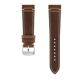 Brown drakkar calfskin leather strap - 22 mm