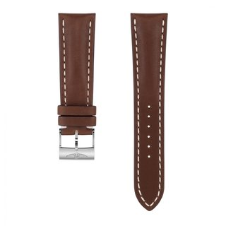Brown novo nappa calfskin leather strap - 24 mm