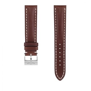 Brown novo nappa calfskin leather strap - 20 mm