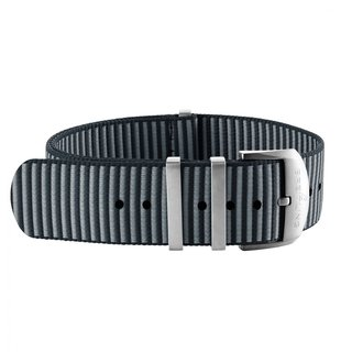 Grey Outerknown Econyl®-yarn single-piece strap (with stainless steel keepers) - 18 mm