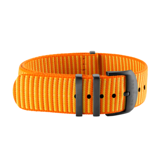 Orange Outerknown Econyl®-yarn single-piece strap (with DLC-coated stainless steel keepers) - 22 mm